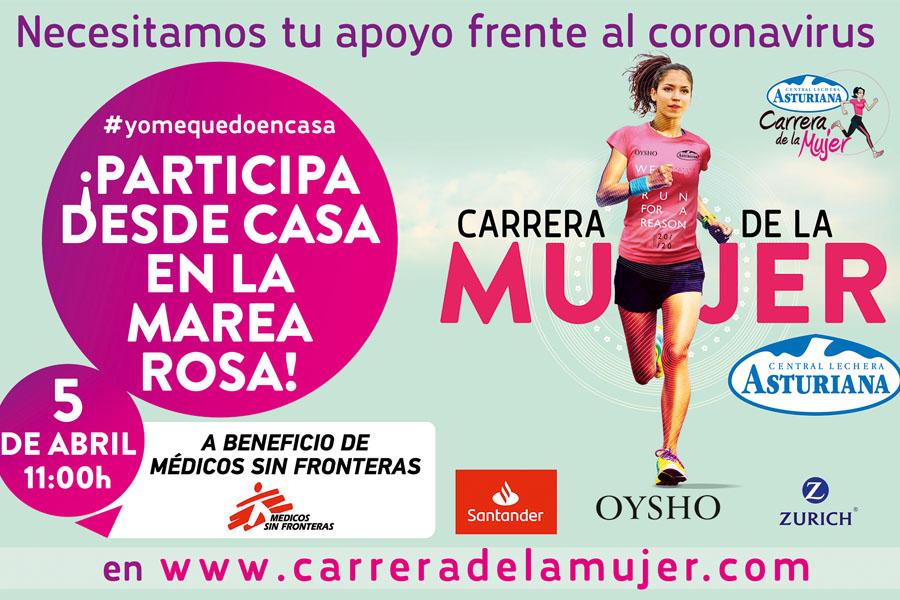 """Este domingo se celebra la Carrera de la Mujer Central Lechera Asturiana 2020 """"en casa"""" a favor de Médicos sin Fronteras"""