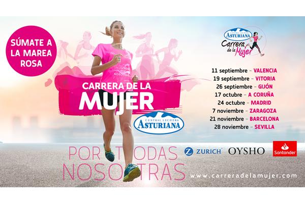 La Marea Rosa de la Carrera de la Mujer Central Lechera Asturiana vuelve en 2021 a las calles de sus ocho ciudades