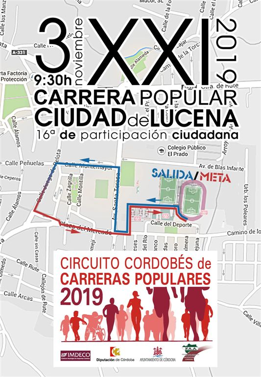 Recorrido-Callejero XXI Carrera Popular Urbana Ciudad de Lucena 2 km