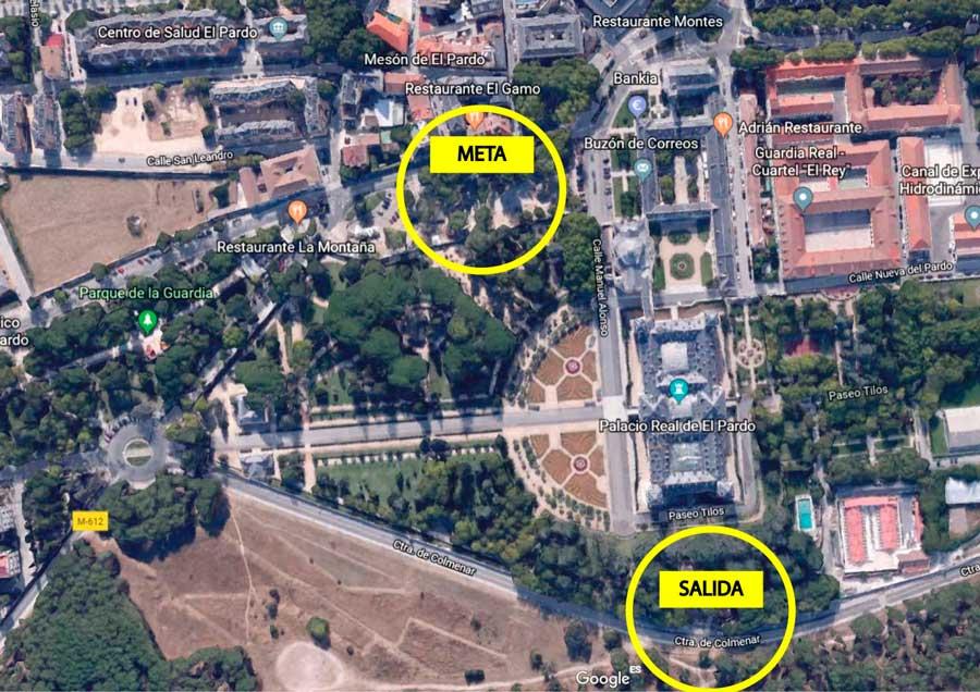Mapa de salida y llegada