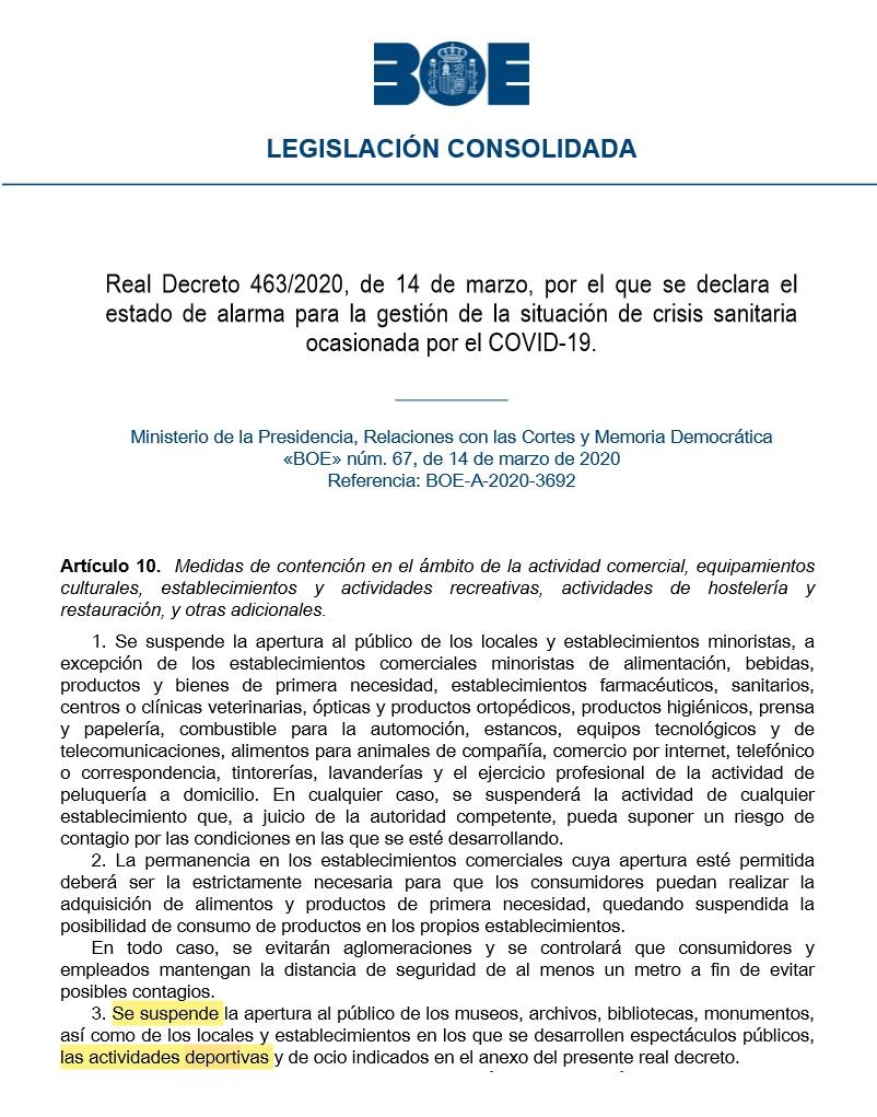 ACTUALIDAD SOBRE LAS MEDIDAS DE CONTENCIÓN DEL CORONAVIRUS