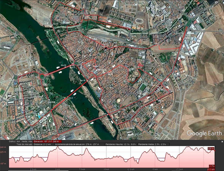 Recorrido X Media Maratón Mérida Patrimonio de la Humanidad