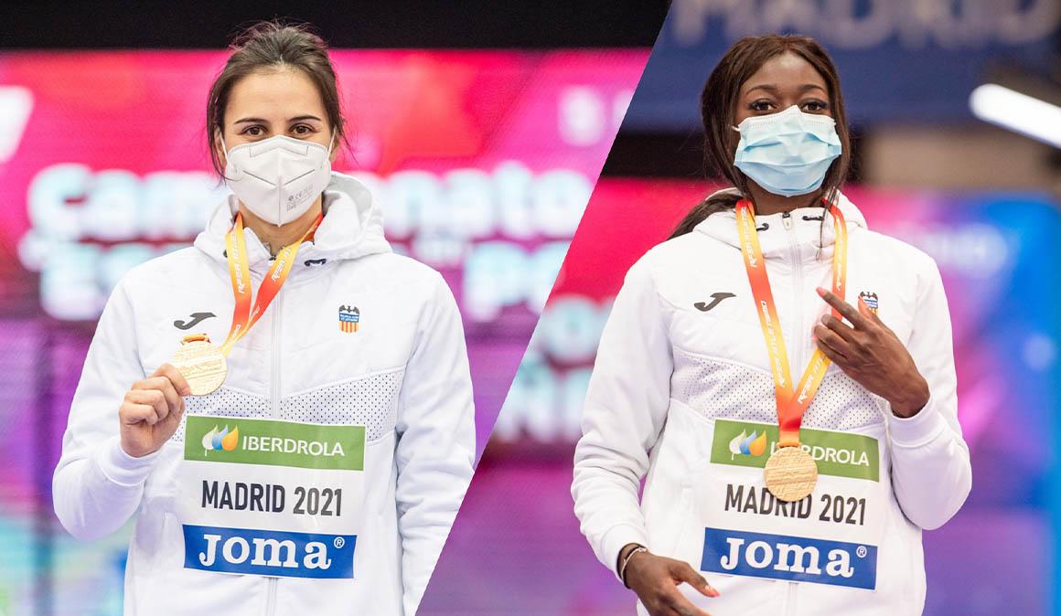 Fátima Diame y Malen Ruiz de Azua se proclaman campeonas de España en pista cubierta