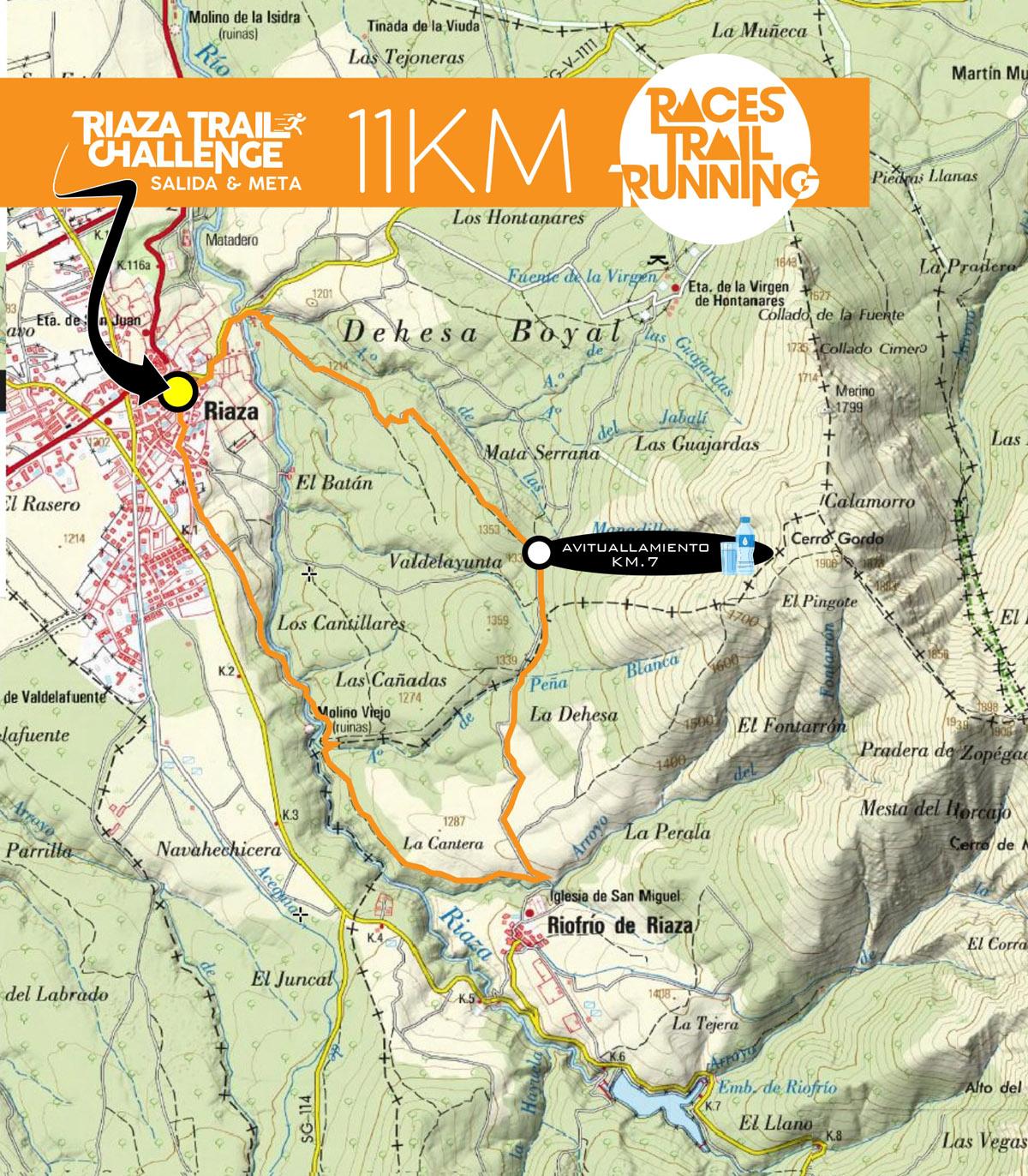 Recorrido y perfil 11 Km