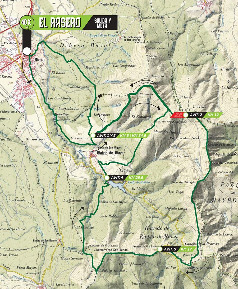 Recorrido y perfil 40 Km
