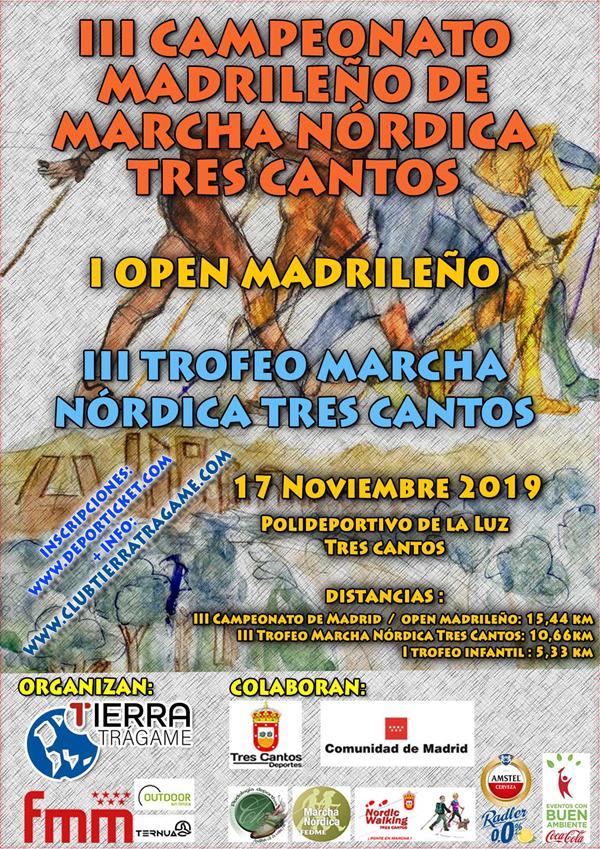 III Campeonato Madrileño de Marcha Nórdica FMM y III Trofeo Marcha Nórdica Tres Cantos