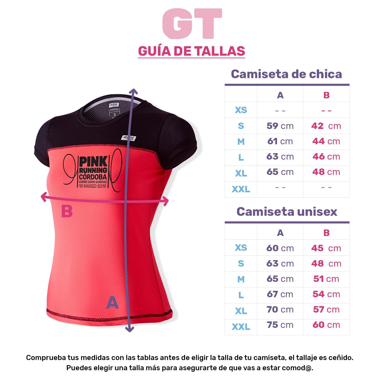 Guía de Tallas de la Camiseta de pink Running 2019