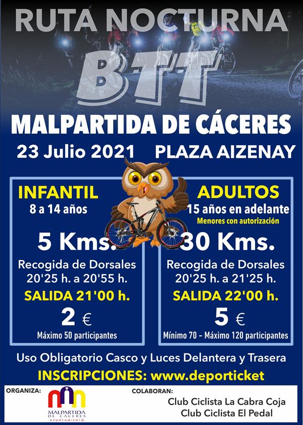 Ruta Nocturna BTT Malpartida de Cáceres